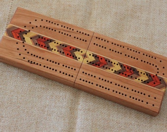 Folding Travel Cribbage Board With Inlays, Continuous Track