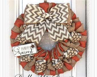 Fall Burlap Wreath -  Orange,  Natural, Gray Chevron Burlap Wreath, Chevron Wreath, Fall Wreath Decor , Fall Decor, Everyday Wreath