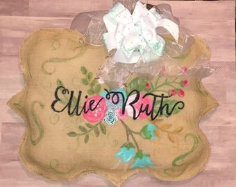 Floral Personalized Burlap Door Hanger