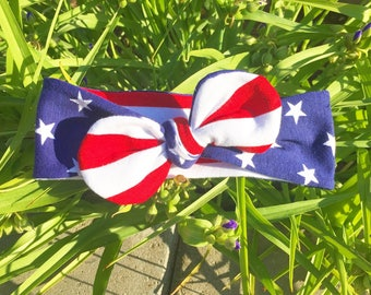 American Flag Headband, USA Hair Band,Infant headband Red White and Blue July 4th Fashion Accessory,American Flag Turband, Halo, photo prop,