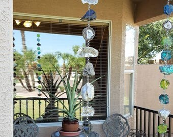 5 Ft. Black and White Rock and Glass Rain Chain