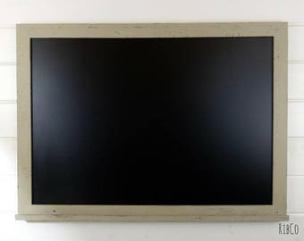 Extra Large blackboard / chalkboard - Handmade. Aged Country Gey frame.