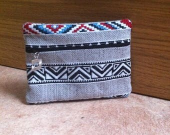 Blue jacquard Sioux card holder wallet
