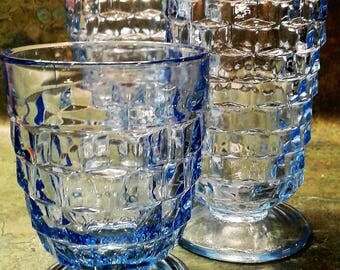 Indiana Glass Whitehall Tumblers in Light Blue (Set of 3 - Mixed Sizes)