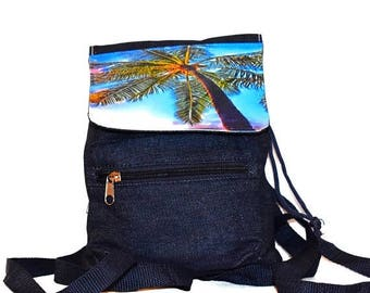 SALE Slouchy Mini Backpack  / 3 Colors Available / Hawaiian Palm Tree Mini Beach Bag / Blue Denim, Khaki Canvas, Black Nylon / Little Travel