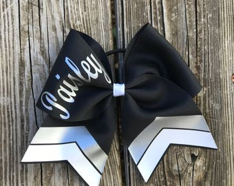 Custom Cheer Bow, black and silver cheer bow chevron, Softball bow, personalized cheer bow