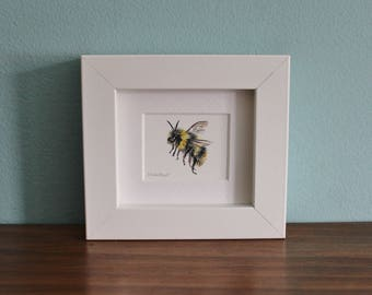Bumblebee Watercolour Painting - Insect - Framed Giclee print - Nature Art Poster - Picture and gift for the home and nursery - Mini Frame