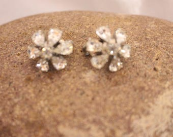 Vintage Crystal Rhinestone Earrings in Silver Tone Clip on style Stamped Vendome