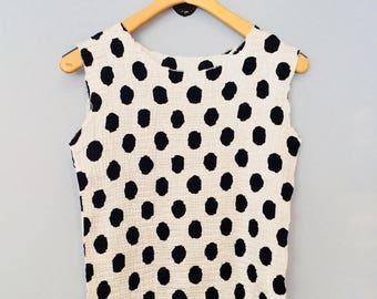 1990s Tank Top White Black Polka Dots