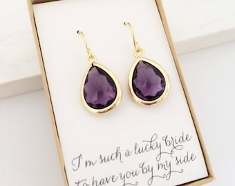 Amethyst Purple Gold Teardrop Earrings, Bridesmaid Gift Jewelry, Bridesmaid Earrings, Purple and  Gold Earrings, Purple Bridesmaid Gift