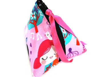 """Cherry fabric and faux purse """"Kokeshi rose"""""""