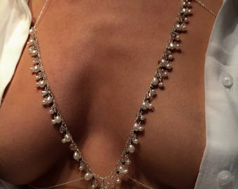 Bralette with sweet water pearls, hematite and Swarovski