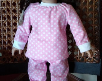 """Two Piece Pink Star Pajamas for your 18"""" Doll, Ready to Ship!"""