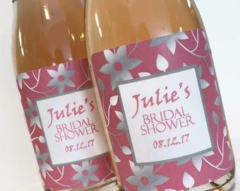 Pink and Silver Bridal Shower Favor, Wedding or Bachelorette Favor, Custom Mini Wine Bottle or Mini Champagne Labels
