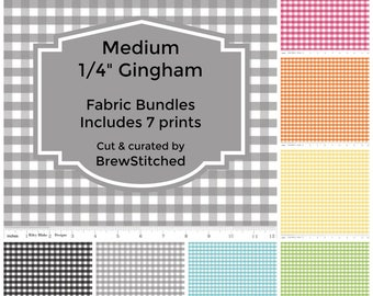 "Gingham Fabric Bundle - Gingham Fat Quarter Bundle - Fabric by the Yard - Medium 1/4"" Gingham - Riley Blake Designs - Includes 7 Prints"