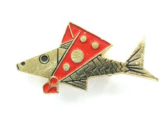 Fish, Brooch, Badge, Animal, Vintage collectible badge, Soviet Vintage Pin, Soviet Union, Made in USSR, 1980s
