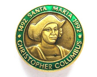 Christopher Columbus, Badge, 500 years, Santa Maria, America, 1492, Rare Soviet Vintage metal collectible pin, Made on 1992