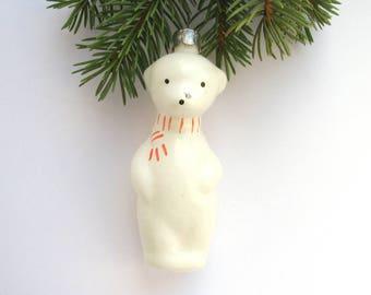Polar Bear, White bear, Animal, Soviet Christmas tree decoration, Christmas glass ornament, Russian New Year,  USSR, Soviet Union, 1970s