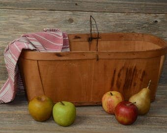 VINTAGE PRODUCE BASKET--An Old, Large Wood Produce Basket with a metal handle and solid wood bottom.