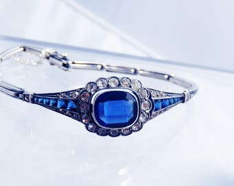 Antique Silver and Sapphire Blue Paste Bracelet Belle Epoque Halo Victorian Edwardian Downton Abbey 1890s Wedding Something Old Bridal