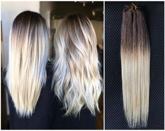 Full Head Dip dye Clip in Human Hair extensions Ombre 6 Pcs dark brown to plat blonde