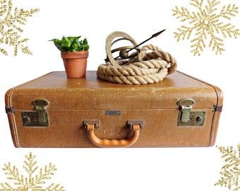 Vintage Crown Tweed Suitcase, Ski-Lite by Crown Circa 1950's, Crown Luggage, Tan Suitcase, Stacking Suitcase, Up-Cycle Project