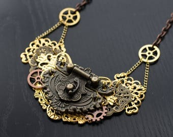 Mixed Metal Steampunk Necklace - Bib Necklace - Statement Necklace - Mixed Metal Hinge Necklace - Women's Necklace - Steampunk Jewelry