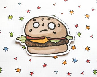 Cute Burger Magnet, Refrigerator Magnet, Sad Cheeseburger, Fridge Magnet, Cubicle Decor, Kawaii Magnet, Funny Food