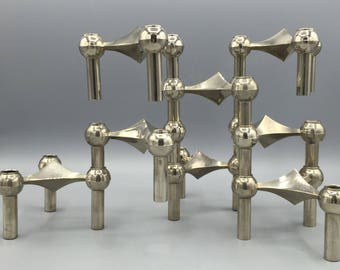 BMF stackable Quist Variomaster, Spage Age,  Atomic Brutalist 8 x candleholder 1960s  Germany.   By Ceasar Stoffi and Fritz Nagel.