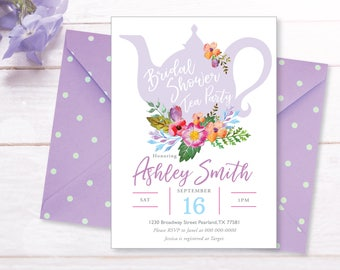Tea Party Bridal Shower Invitations, Baby Shower Invite, Invite Printable, Floral, Watercolor, Bride Luncheon, Summer  Bridal Shower