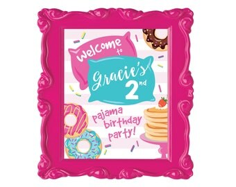 Donuts and Pajamas, Birthday Welcome Sign, Printable, Customized DIY, donut, pancake sleepover party, slumber party, Party Sign