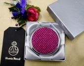 Compact mirror in bright pink herringbone Harris Tweed small Scottish gift for her birthday mothers day  christmas  teacher made in Scotland