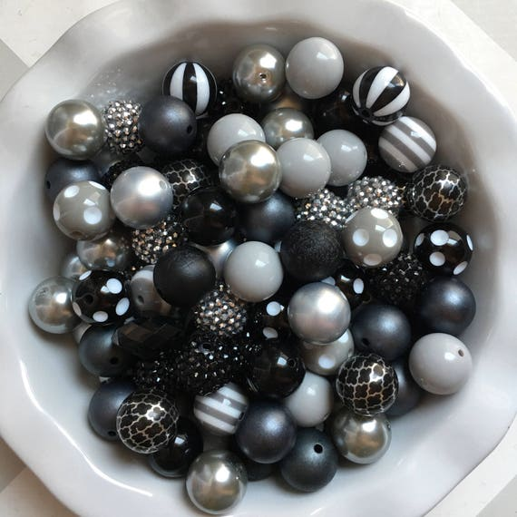 """100 {20mm} """"Raiders: Black & Silver/Gray"""" Chunky Bubble Gum Bead Themed Bead Lot **Read Item description before purchase!"""