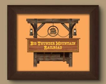 Walt Disney World Signage Digital Art Print: Big Thunder Mountain