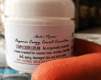 Organic Crazy Carrot Complexion Cream. Rooibos, Green Tea & Willow Bark - For Aging Skin