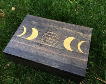 Moon Phase Seed of Life Crystal Grid Box