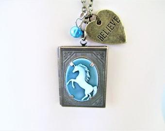 Unicorn Locket Necklace, Unicorn Pendant Locket, Unicorn Necklace With Believe Heart Charm, Believe Unicorn Necklace