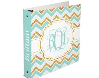 Personalized binder, boho chic chevron glitter, 3 ring binder, back to school supplies, school binder, binder organizer, office organizer