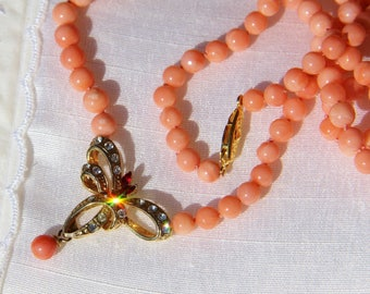 genuine 1st choice salmon coral necklace