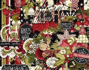 On Sale 50% Christmas, Holiday, Season, Comfort And Joy  Digital Scrapbook Kit, Scrapbooking
