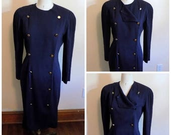 80s Military Dress, 80s Navy Blue Dress, Button Down Dress, Jessica Howard, Size 12, Womens Vintage Clothing, US Navy, Double Breasted
