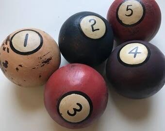 50s Billiard Balls, Handpainted, Handmade, Wooden, Pool Balls, Solids, Set of 5, 1950s, Pool Hall