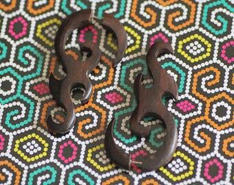 Hand Carved Wood Tribal Earring Fake Gauge Post Earring