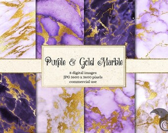 Purple and Gold Marble Digital Paper, purple marble textures, printable scrapbook paper, gold white marble natural stone backgrounds