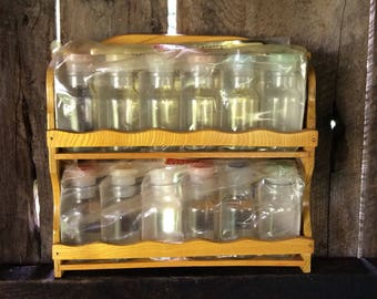 vintage spice rack new old stock spice rack glass spice jars mcm - Spice Jars