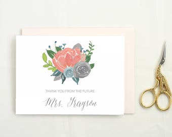 Personalized Thank You Cards Wedding. Future Mrs Thank You Notes. Shower Thank You Cards. Personalized Bridal Shower Thank You Cards. MRS31