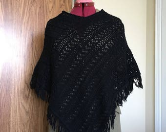 Black poncho, knit poncho, lace poncho, cotton blend pull over shawl,  ladies, teens, layer wear , fringed, size Large, size fits most