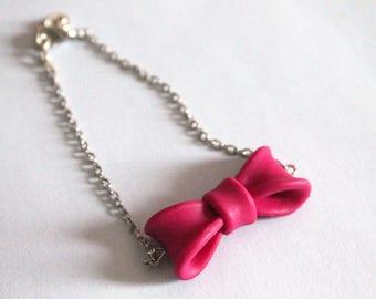 Polymer clay bow bracelet