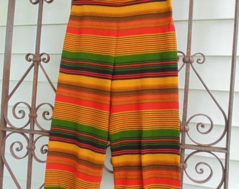 Super bright striped pants retro high waist