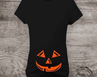 Halloween Maternity shirt, Pumpkin face t-shirt Mommy to be Shirts Baby Shower gift shirt Pregnancy announcement, Mommy and me tshirt